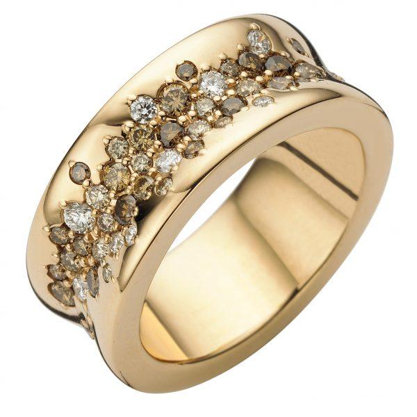 ROOS 1835 Roségouden ring bezet met briljant
