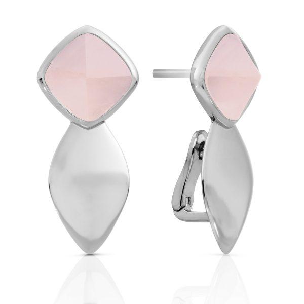Sparkling Jewels Edge zilveren oorsieraden met roze kwarts