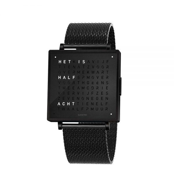 Qlocktwo W35 Black Steel horloge