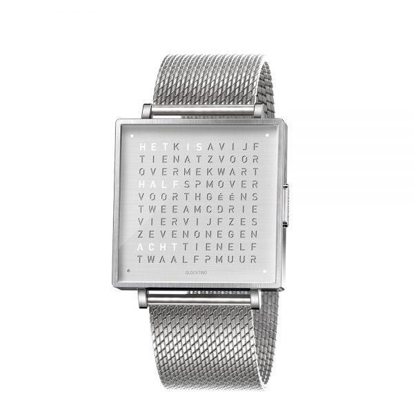 Qlocktwo W35 Fine Steel horloge