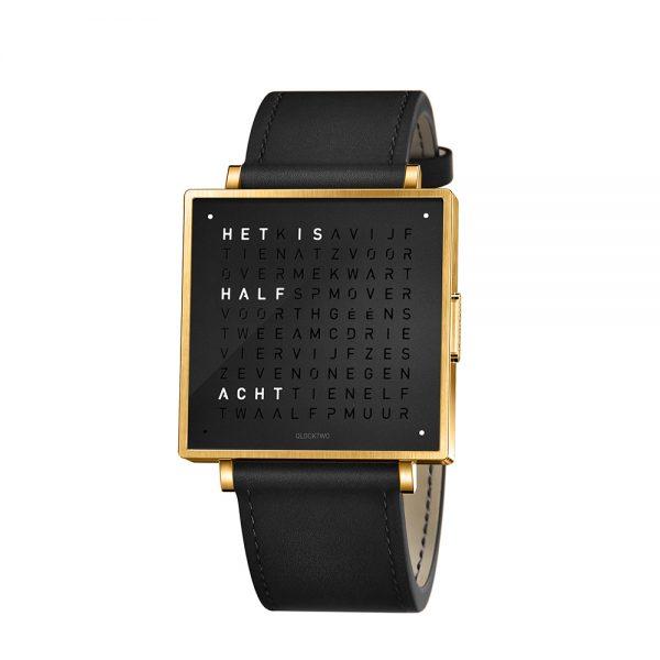 Qlocktwo W39 Gold Black horloge
