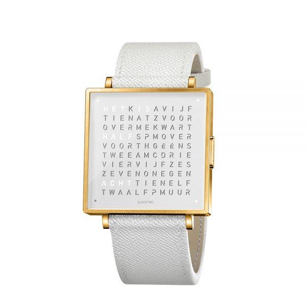 Qlocktwo W35 Gold White horloge