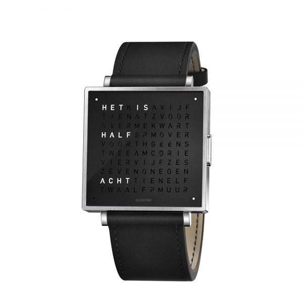 Qlocktwo W39 Pure Black horloge