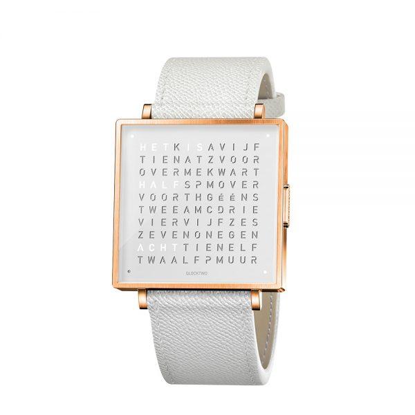 Qlocktwo W35 Rose White horloge